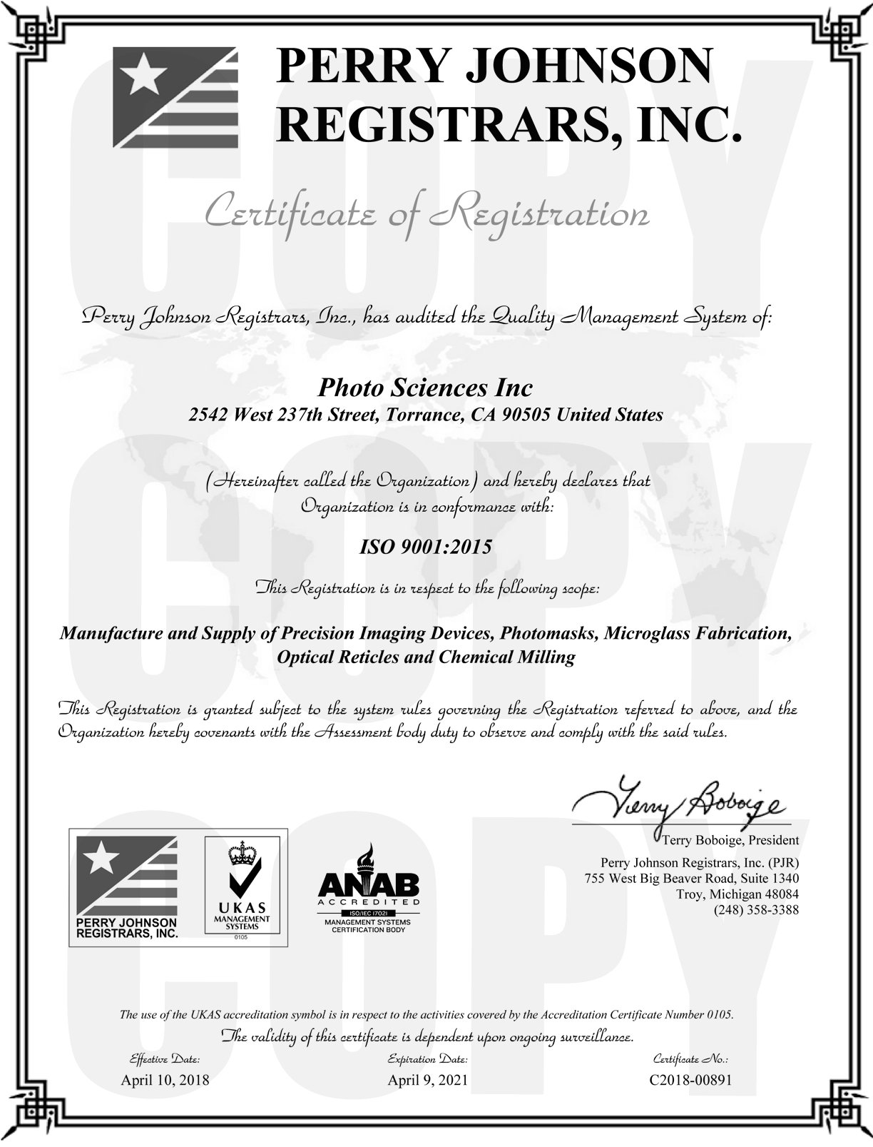 ISO 9001:2008 Registration Certificate